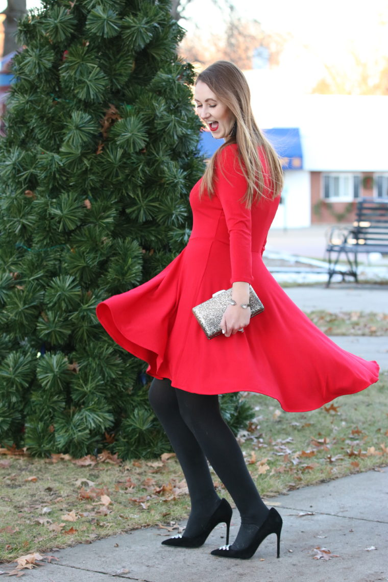 holiday fun, red dress, holiday outfit, suede pumps, tassel earrings, glitter clutch
