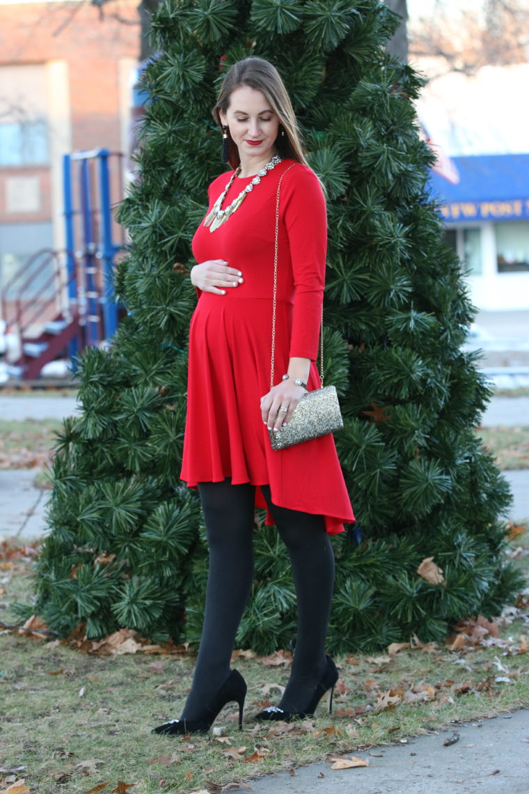 embellished pumps, red dress, holiday look