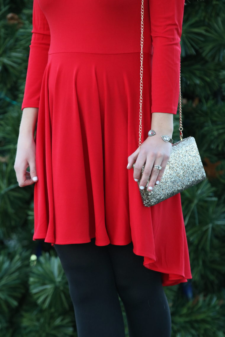 red dress, holiday outfit, glitter clutch, crystal cuff bracelet
