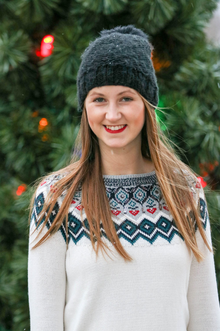 embellished holiday sweater, black beanie, holiday look, red lips
