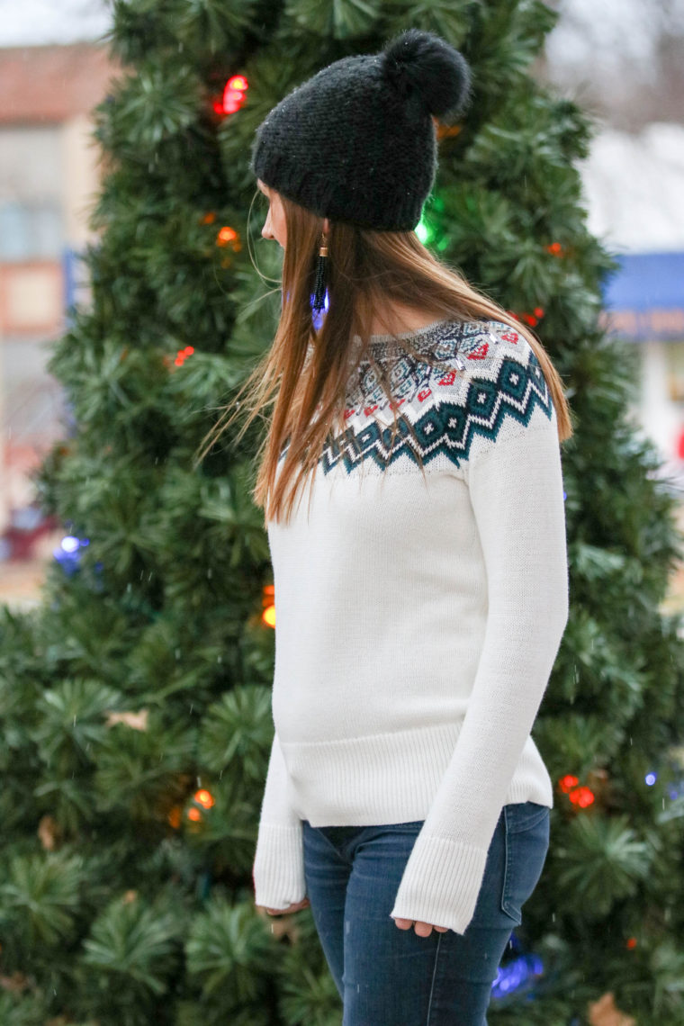 embellished sweater, holiday look, black beanie