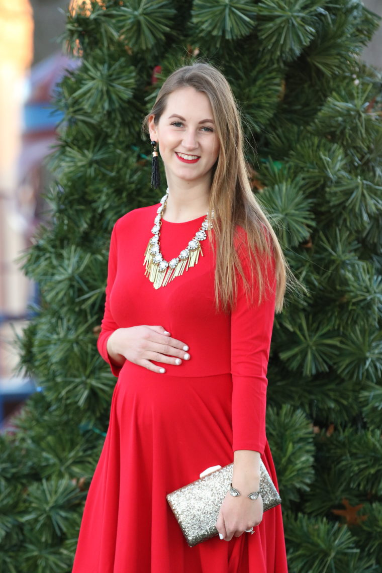 statement necklace, red dress, holiday outfit, tassel earrings