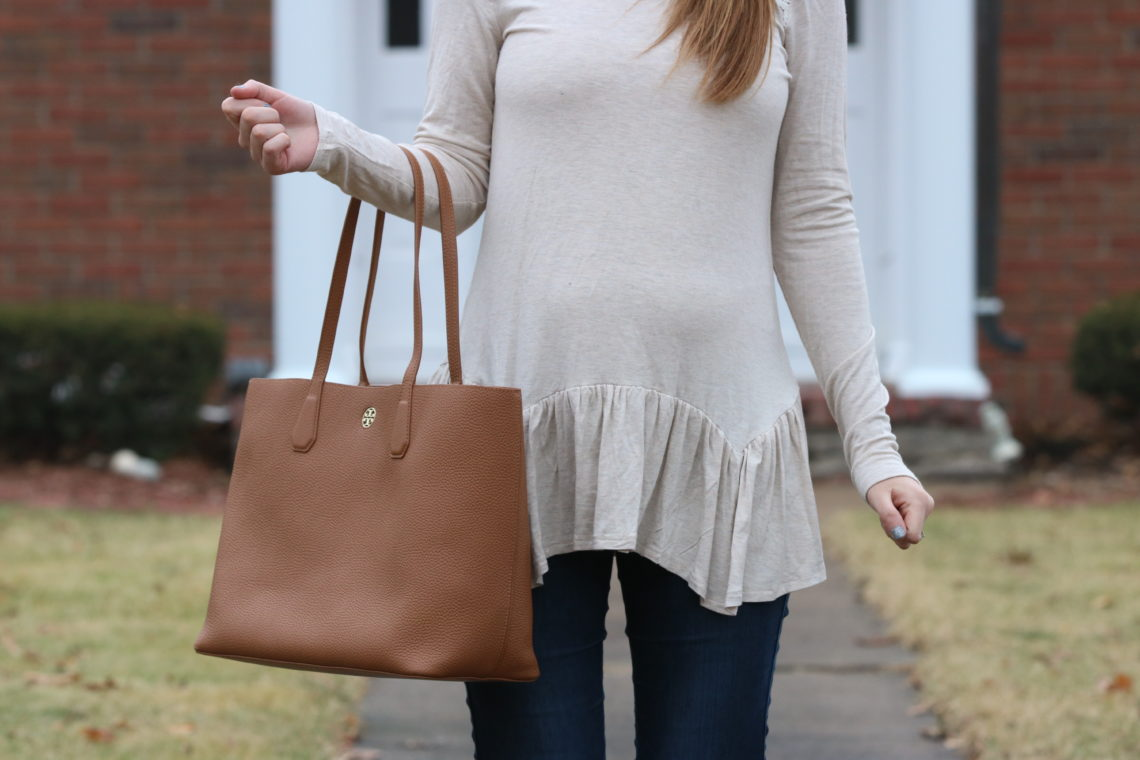 peplum top, oatmeal color, Tory Burch tote