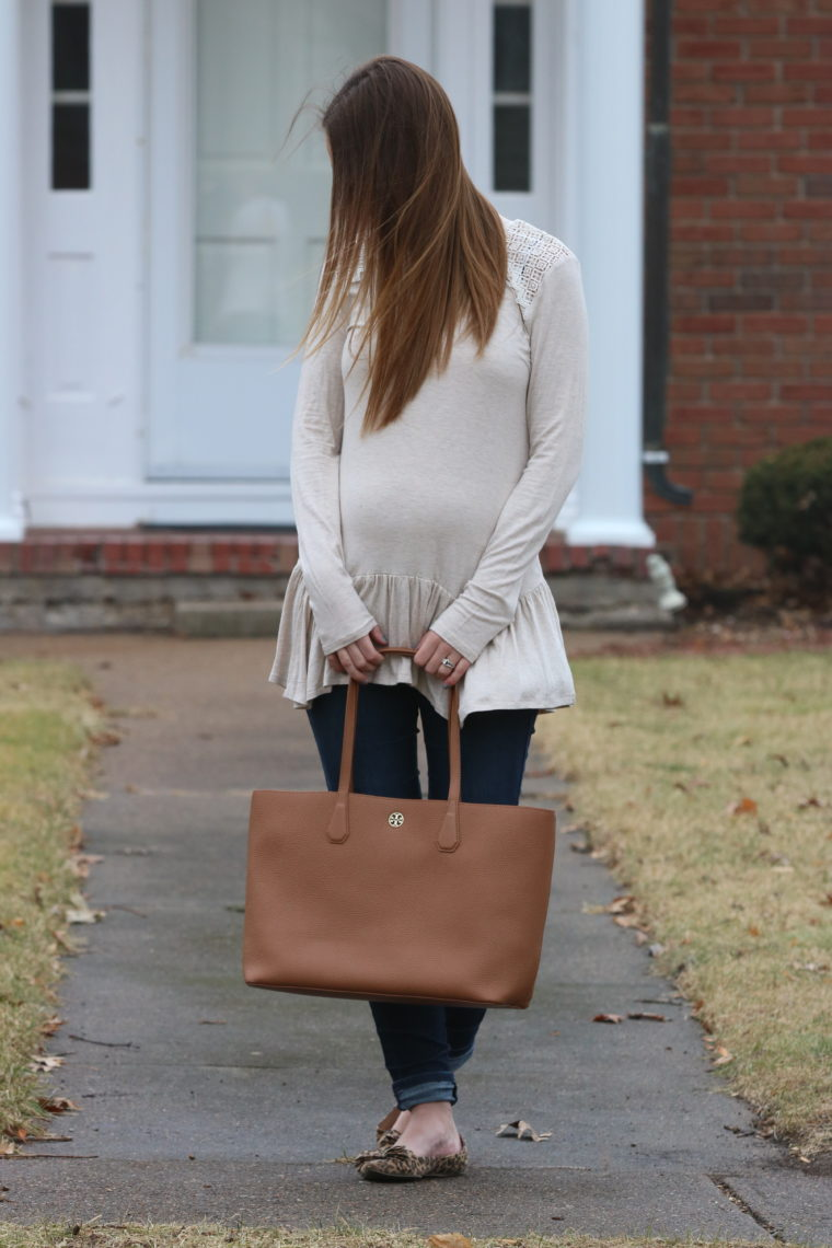 mockneck tunic, peplum top, Tory Burch tote, brown bag