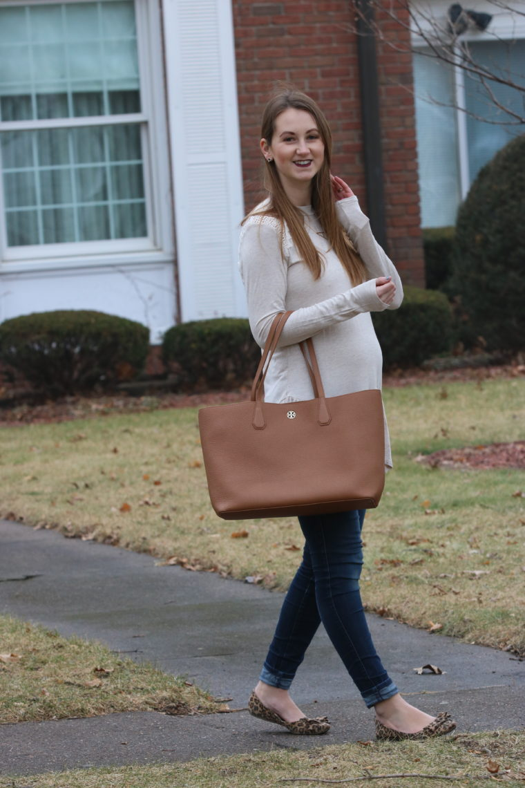 brown tote, peplum tunic