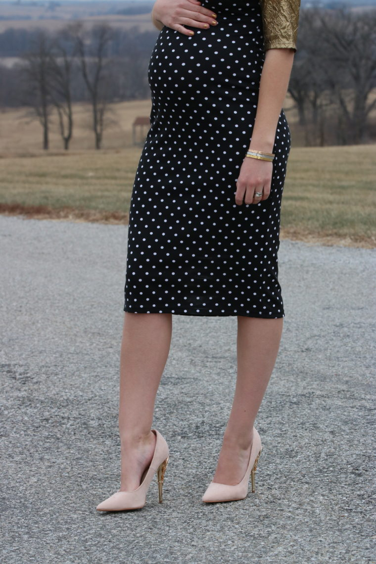 for the love of glitter, women's fashion, polka dot dress, pink pumps