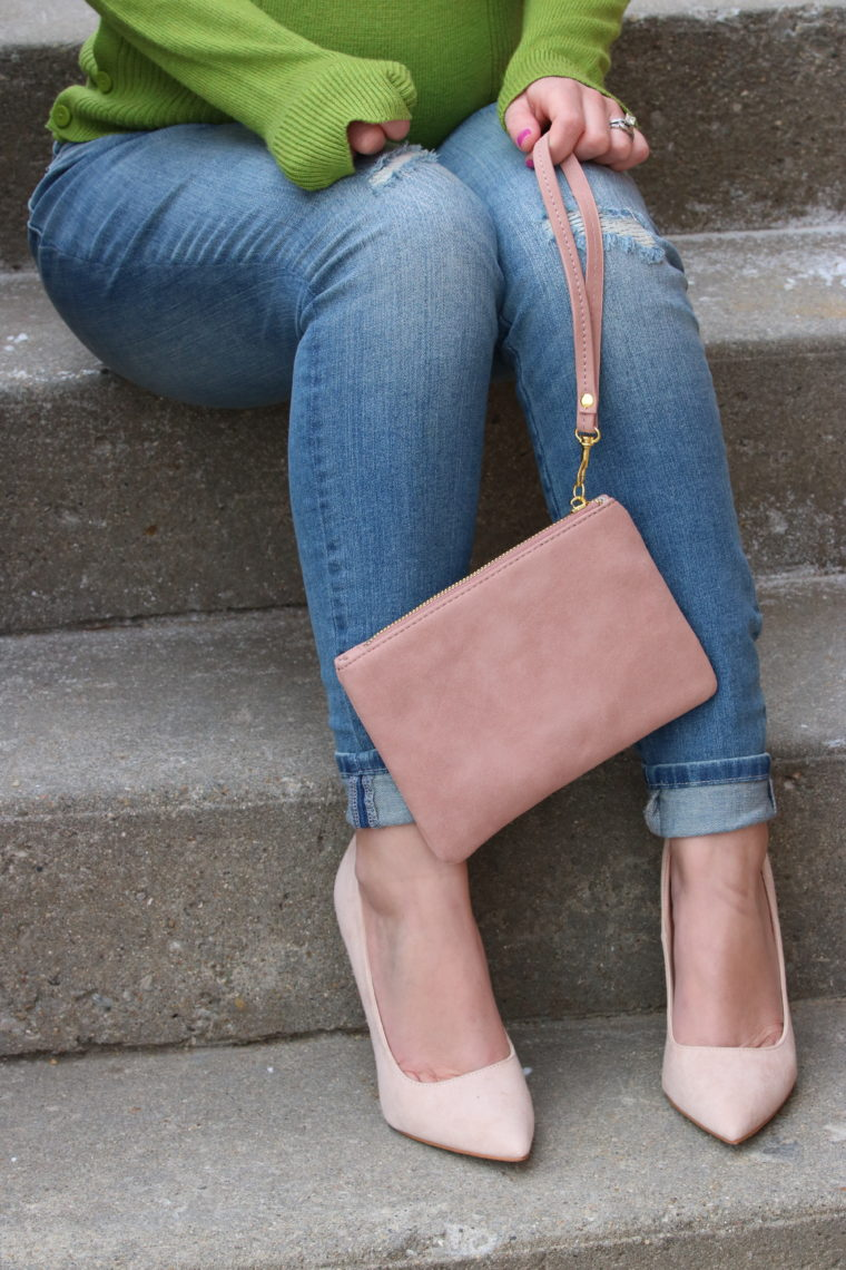 for the love of glitter, women's fashion, maternity jeans, pink clutch