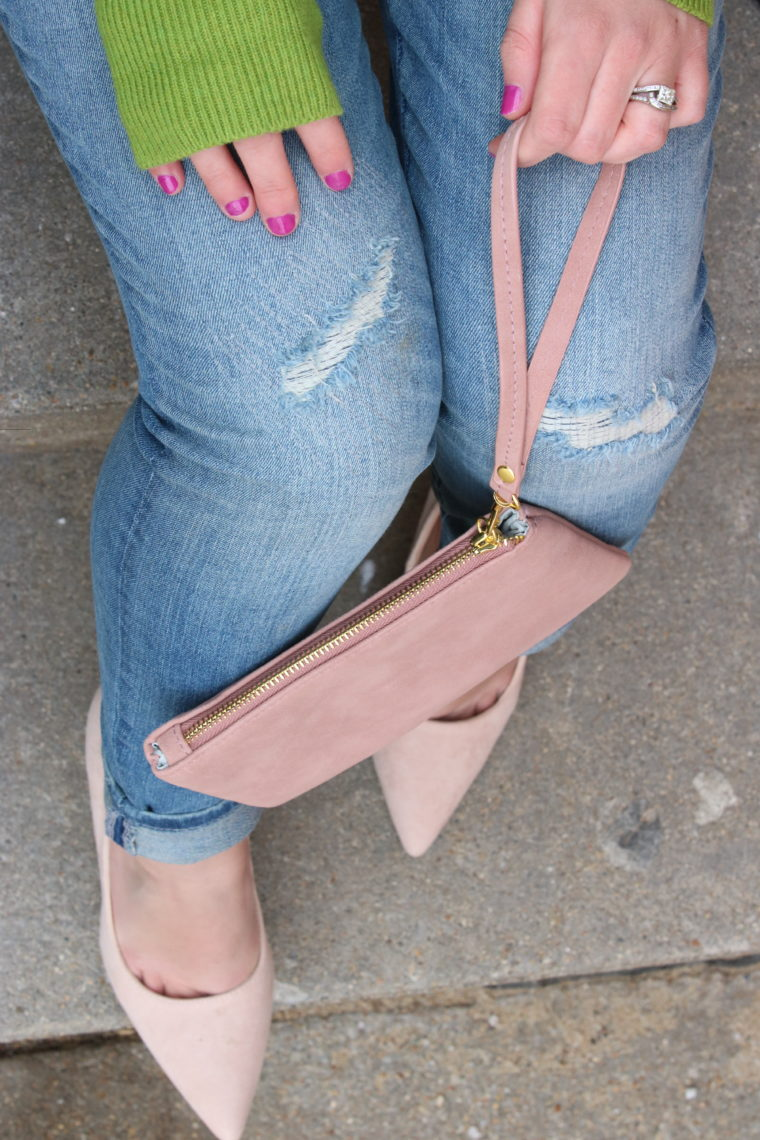 for the love of glitter, women's fashion, pink clutch, suede pumps