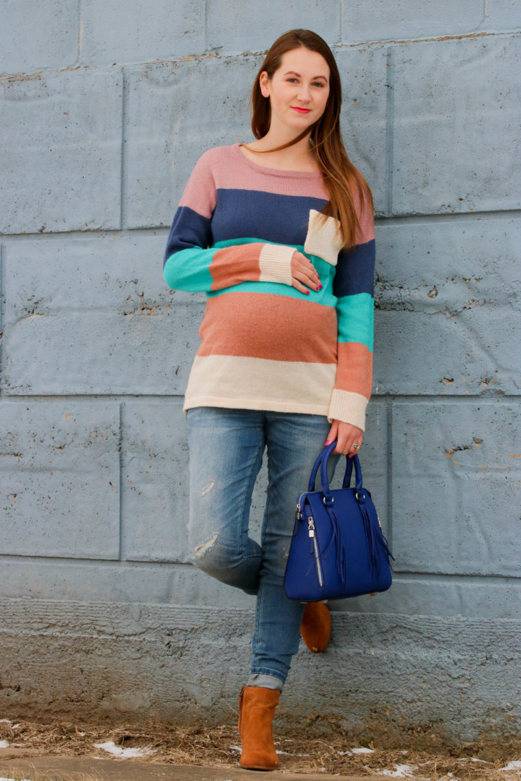 for the love of glitter, women's fashion, maternity style, colorblock sweater