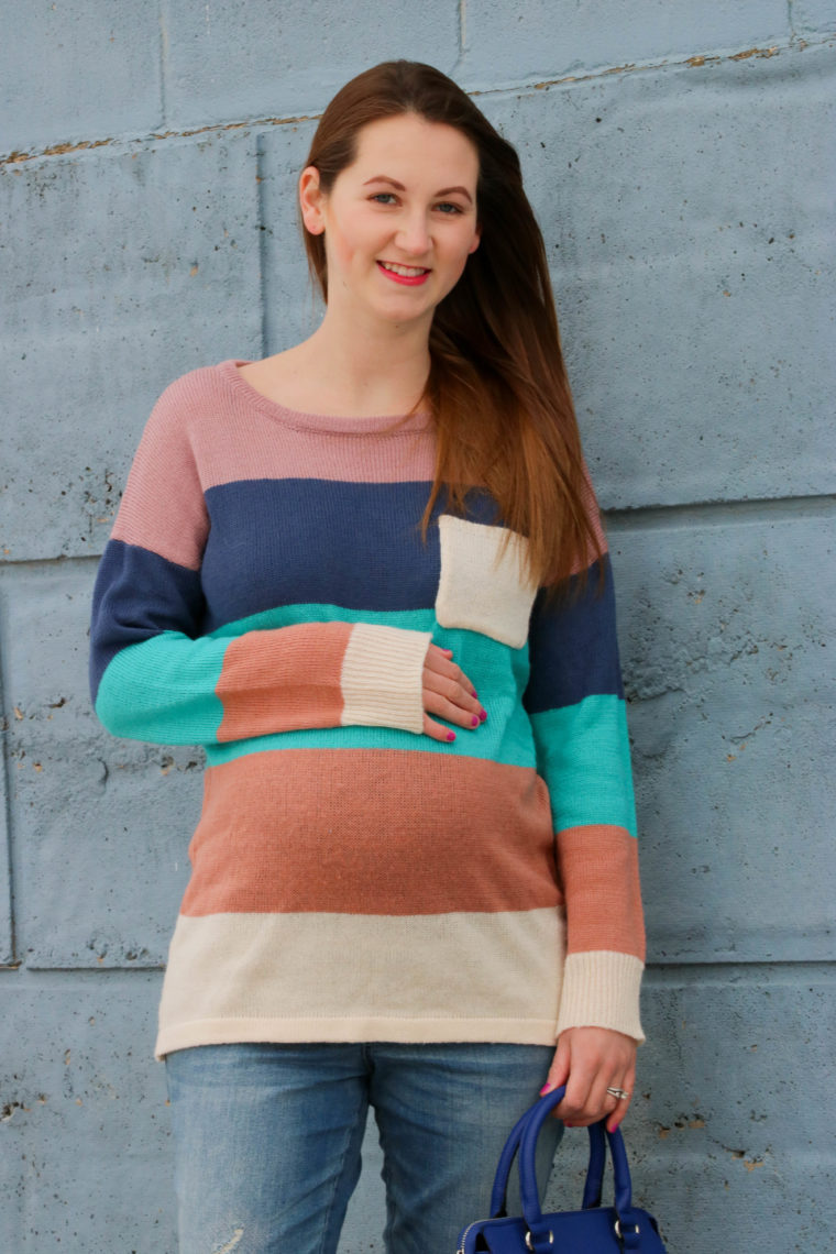 for the love of glitter, women's fashion, colorblock sweater, maternity style