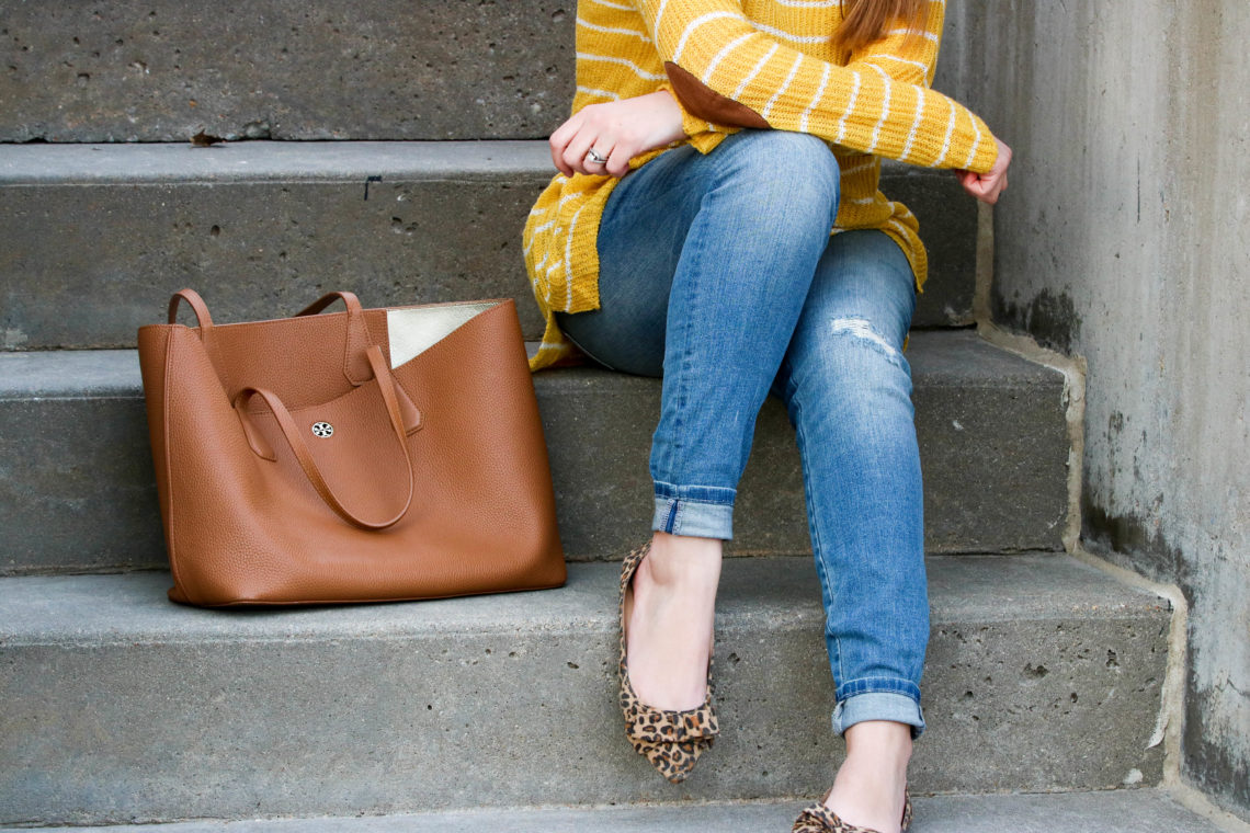 Mustard Yellow Top With Suede Elbow Patches