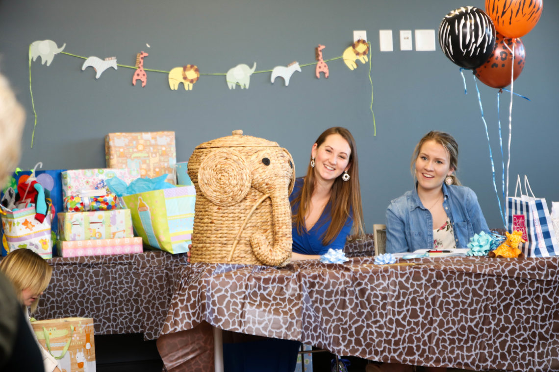 safari baby shower, elephant hamper