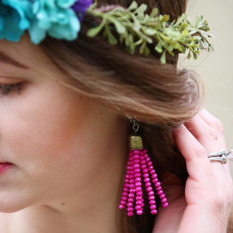 for the love of glitter, tassel earrings, floral crown, jewelry