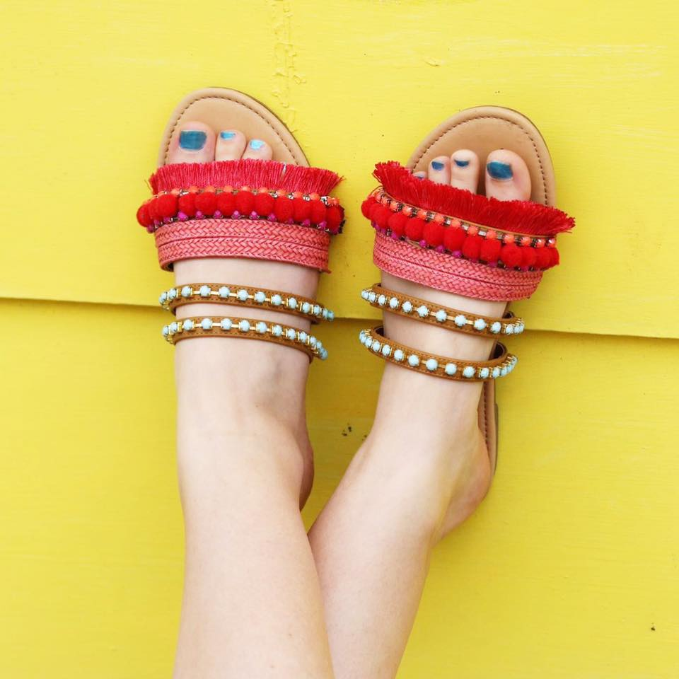 for the love of glitter, pom pom sandals