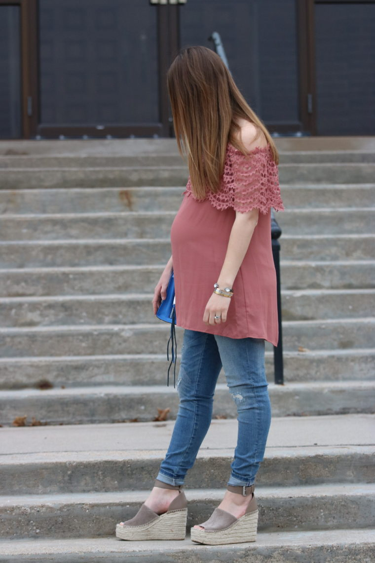 for the love of glitter. women's fashion, spring style, lace top, off the shoulder top, wedges