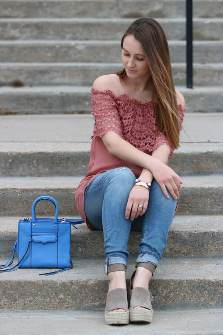 for the love of glitter, women's fashion, off the shoulder top, spring style, wedges