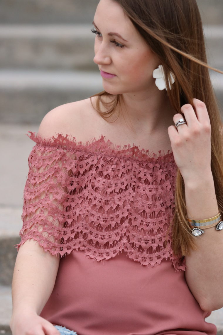 for the love of glitter, women's fashion, lace off the shoulder top, lace, cuff bracelet