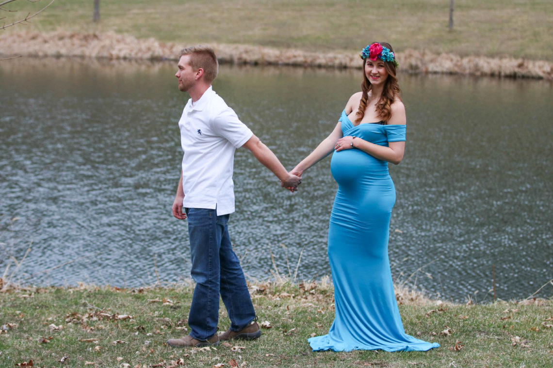 maternity photos, maternity gown, maternity dress, floral crown, Sew Trendy Accessories, maternity style