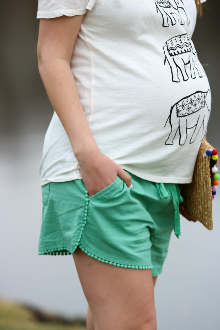 for the love of glitter, women's fashion, pom pom shorts, elephant tee