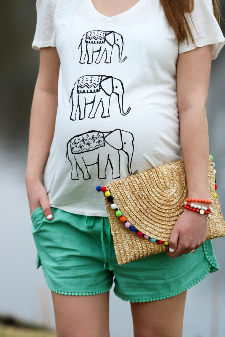 for the love of glitter, women's fashion, elephant tee, pom pom clutch