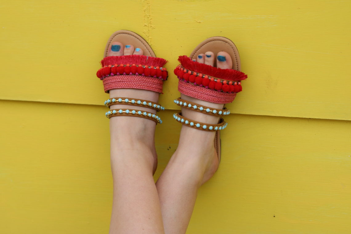 for the love of glitter, sandals, pom pom sandals, summer sandals