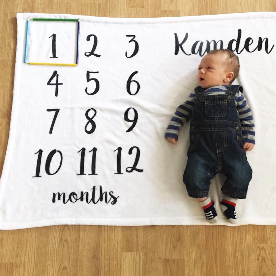 1 month old, month by month blanket, baby boy
