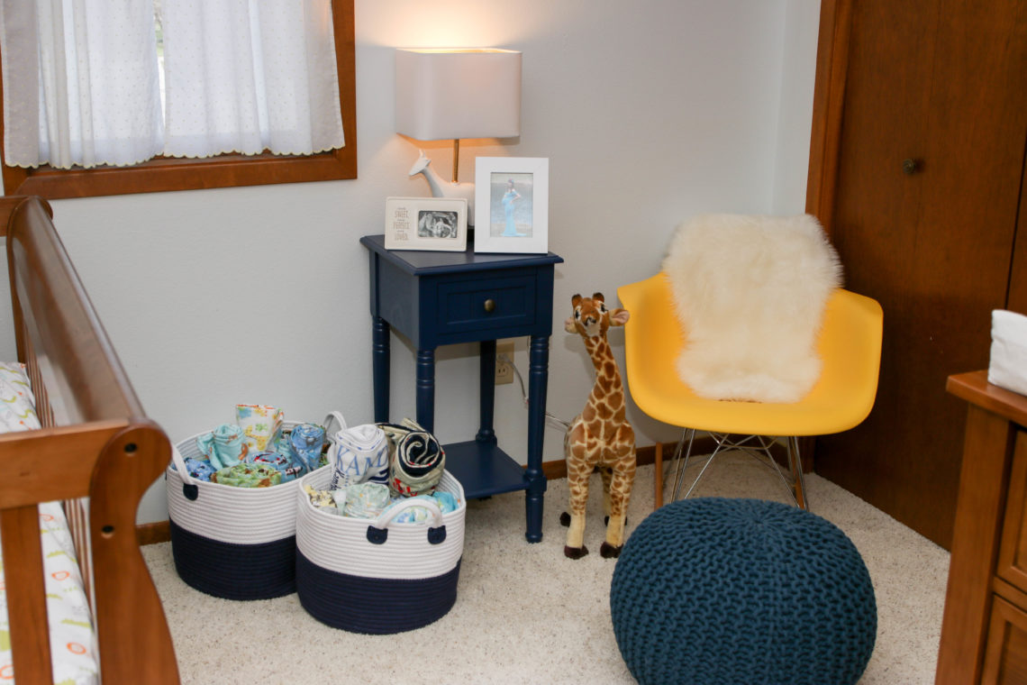 for the love of glitter, safari nursery, yellow rocking chair, blue pouf