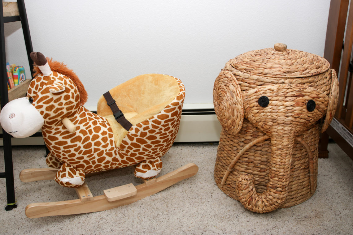 for the love of glitter, giraffe rocker, elephant hamper