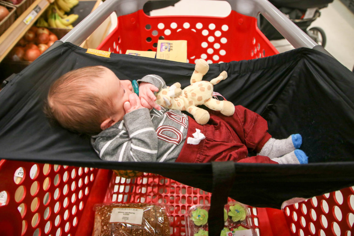 for the love of glitter, shopping cart hammock, binxybaby