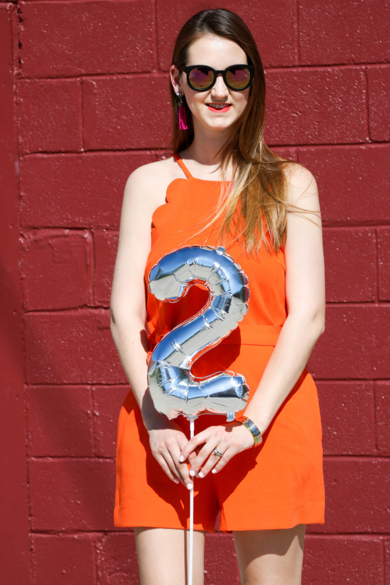 for the love of glitter, women's fashion, orange romper, 2 year bloggiversary