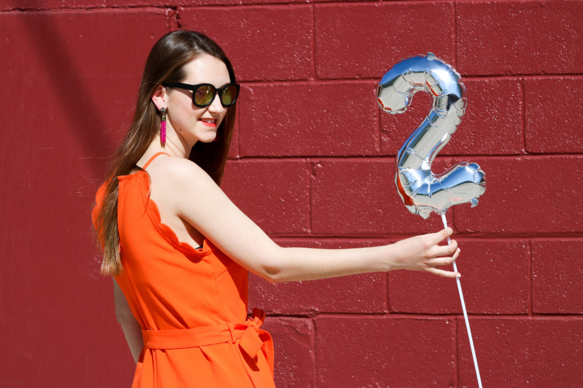 for the love of glitter, women's fashion, 2 year bloggiversary, orange romper