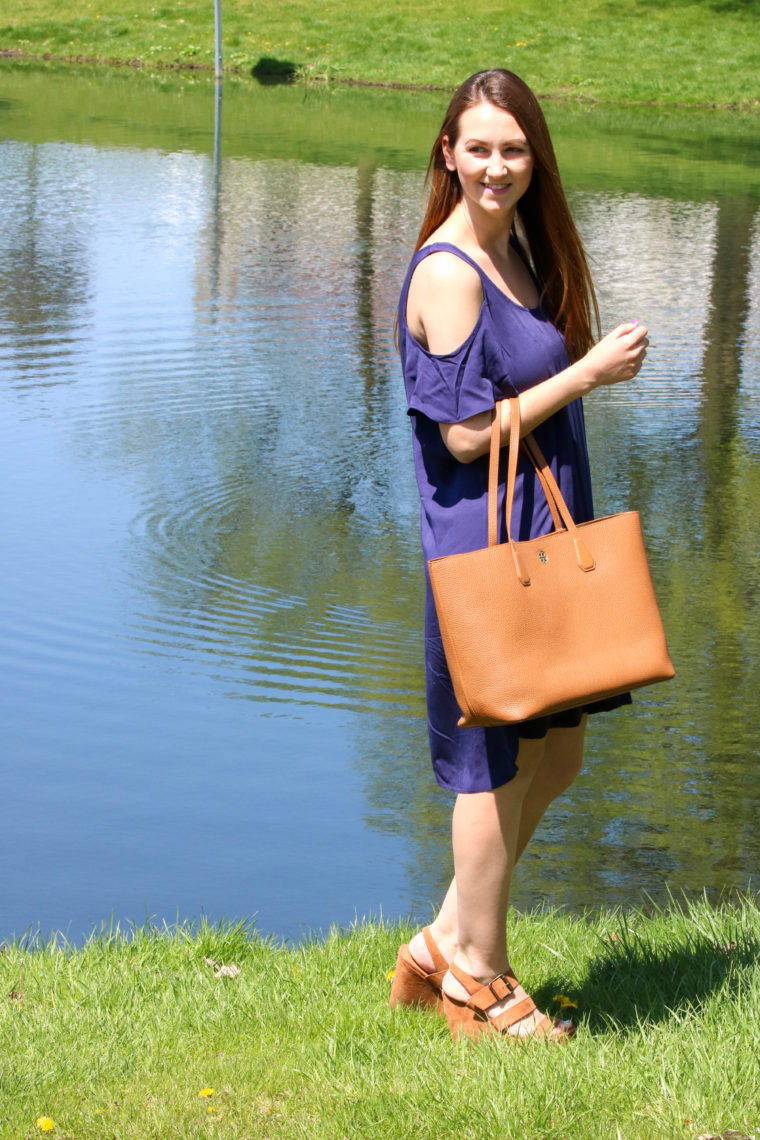 for the love of glitter, women's fashion, cold shoulder dress, Tory Burch tote, spring style