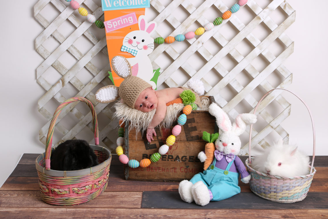 Easter bunny, newborn photos, baby boy, Easter bunny costume, Easter eggs
