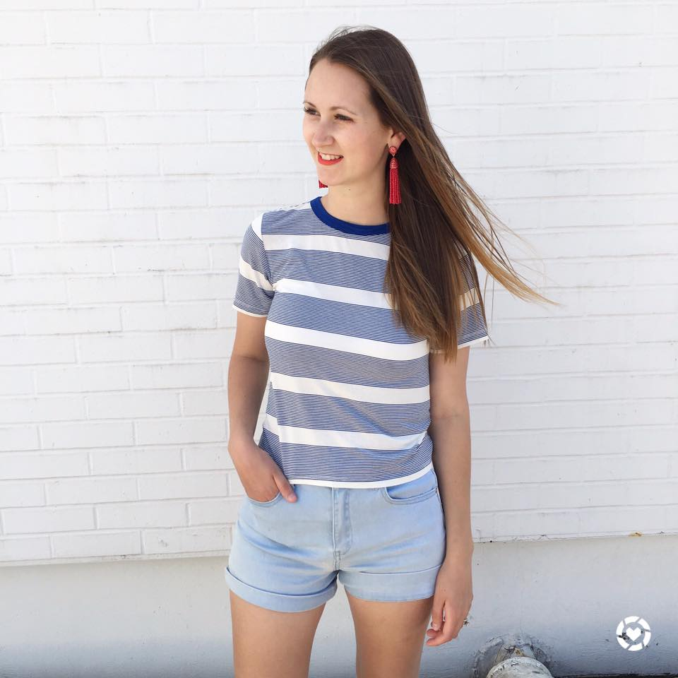 for the love of glitter, stripe tee, tassel earrings, patriotic outfit, women's fashion