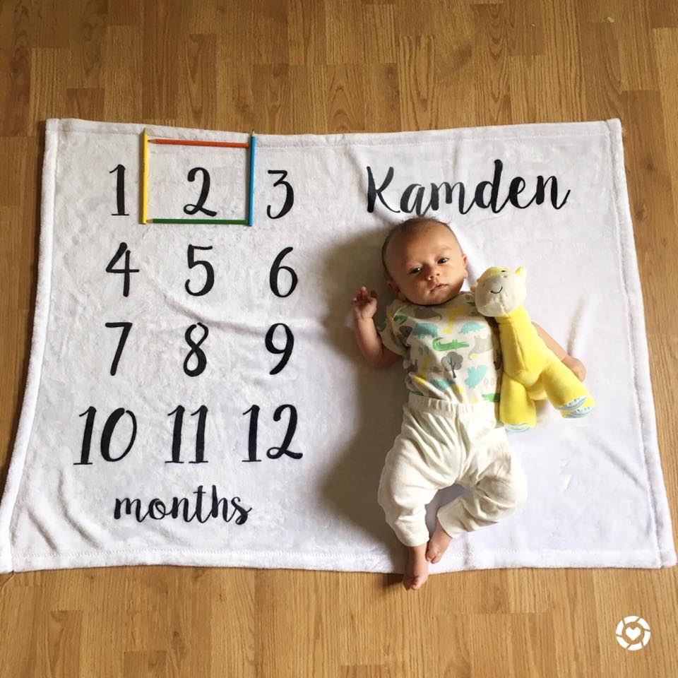 for the love of glitter, month blanket, 2 months old, baby boy