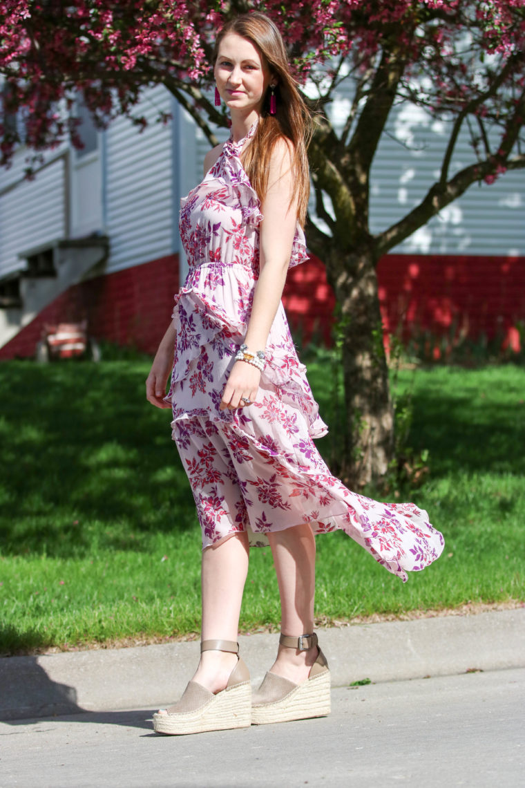for the love of glitter, tiered midi dress, floral dress, spring style, women's fashion