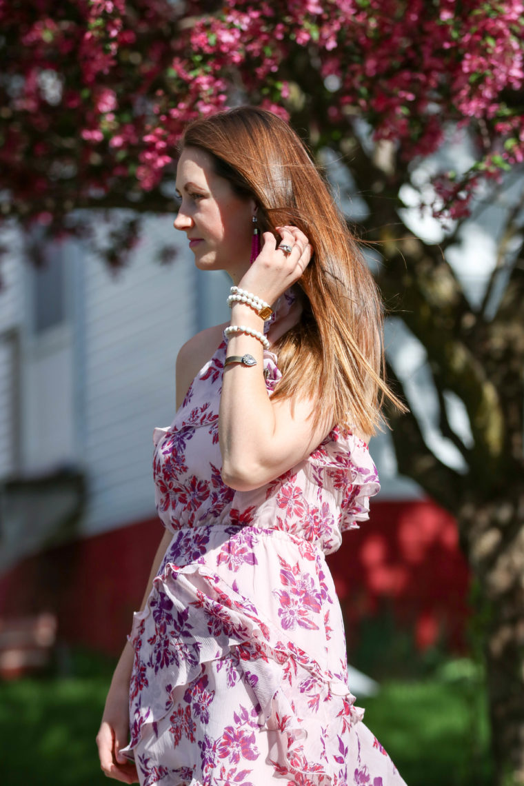 for the love of glitter, women's fashion, floral dress, cuff bracelet, spring style