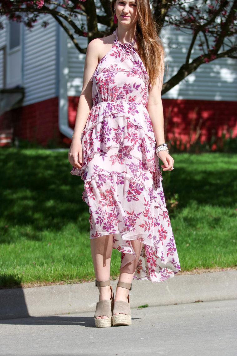 Floral Print Tiered Halter Neck Midi Dress