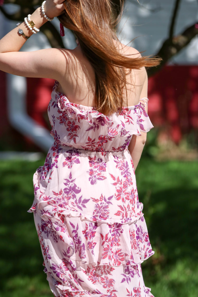 for the love of glitter, ruffle dress, floral dress, women's fashion, spring style
