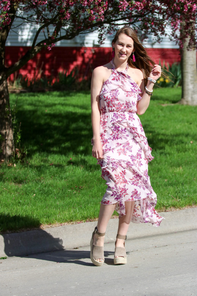 for the love of glitter, floral midi dress, women's fashion, spring style