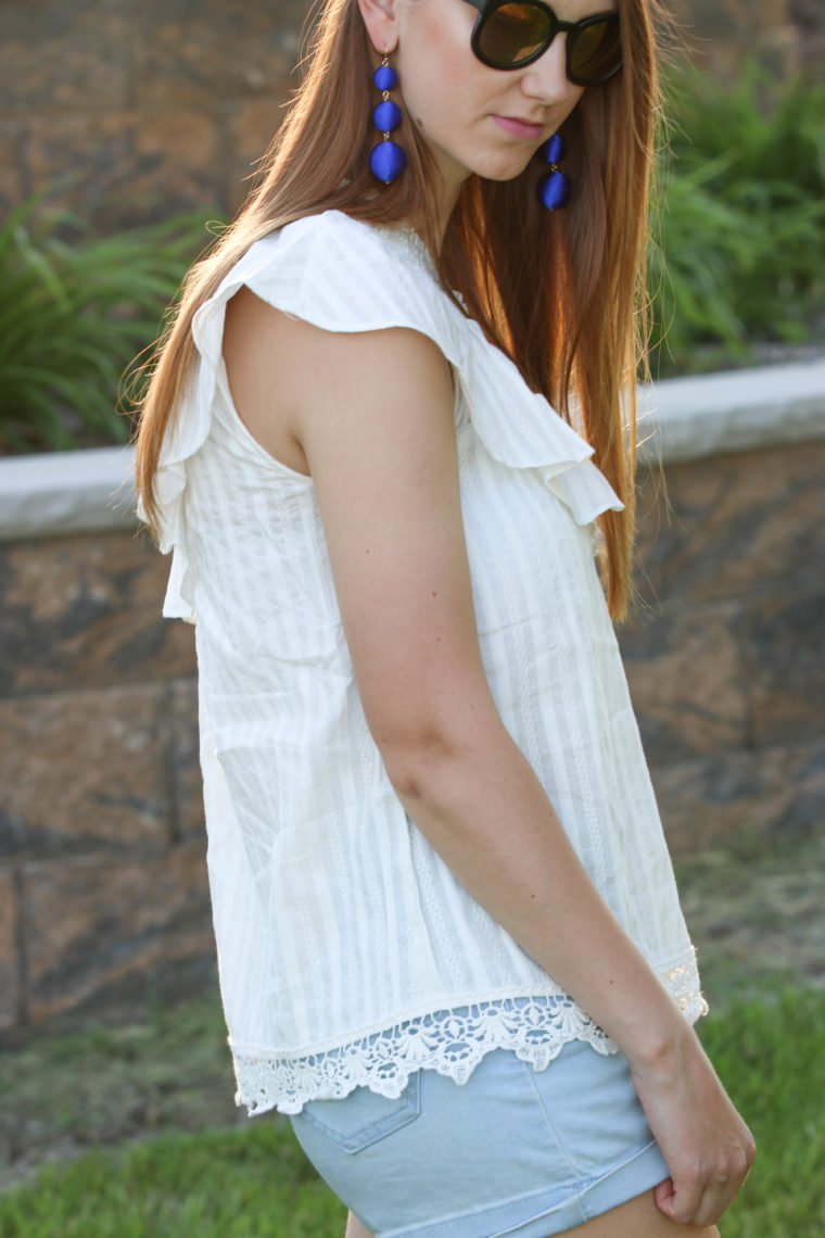for the love of glitter, lace top, ruffle top, women's fashion