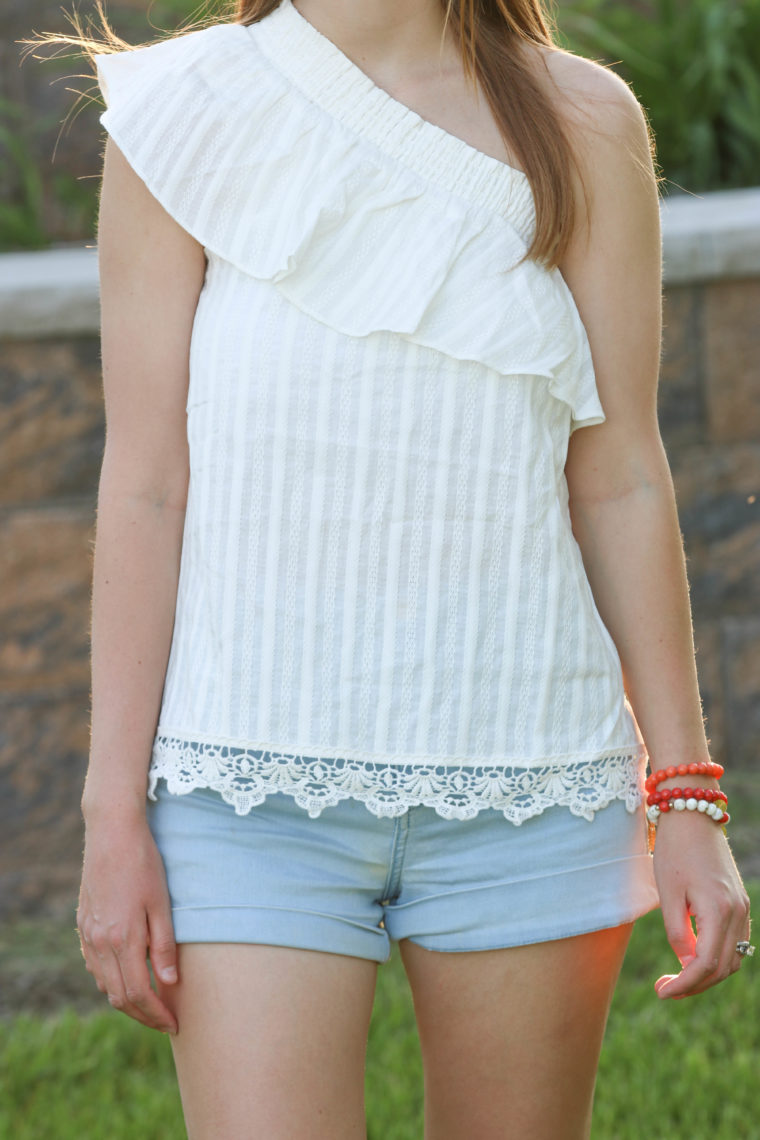 for the love of glitter, one shoulder top, ruffle top, lace top, women's fashion