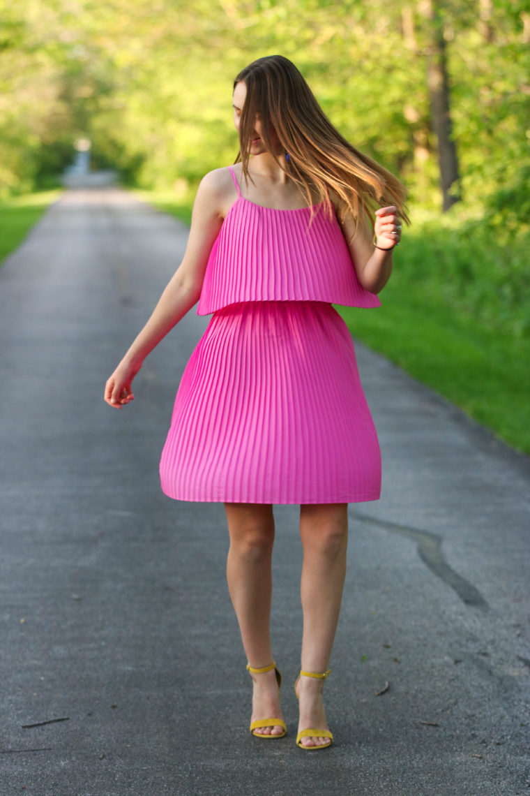 for the love of glitter, pleated dress, yellow heels, women's fashion