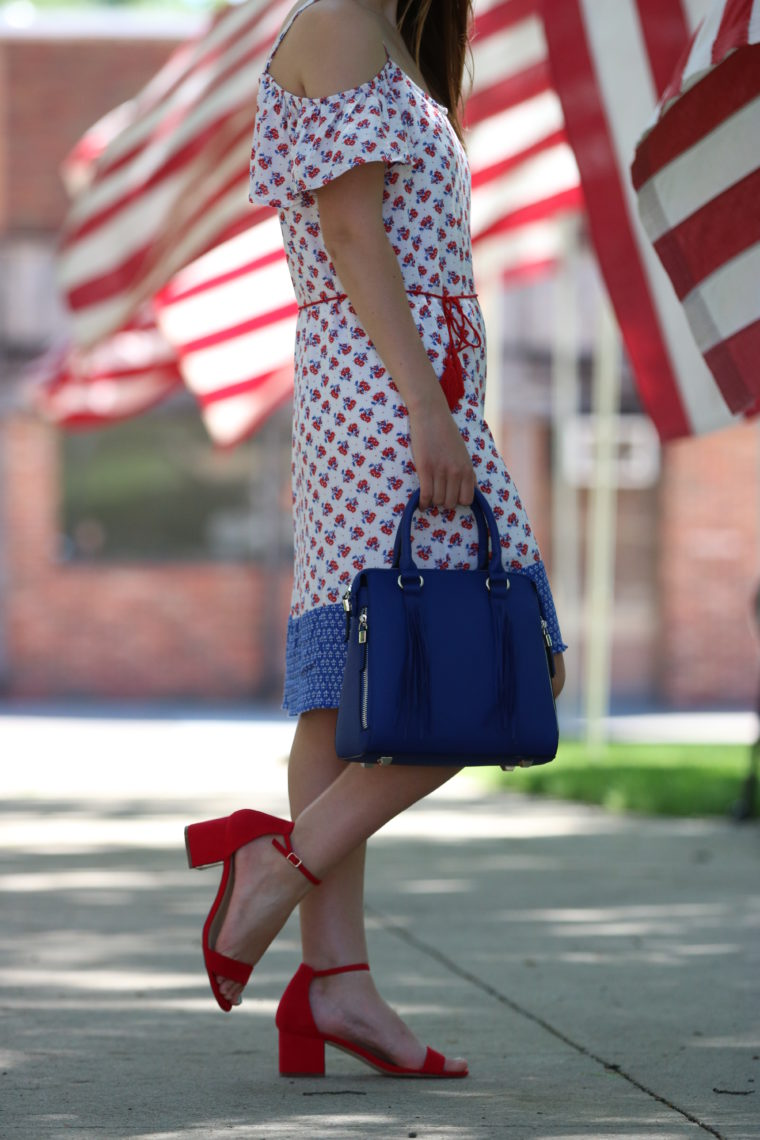 Red, White & Blue Cold Shoulder Dress