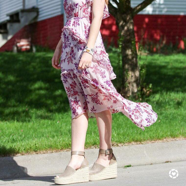 for the love of glitter, halter top dress, floral dress, summer style, Marc Fisher wedges