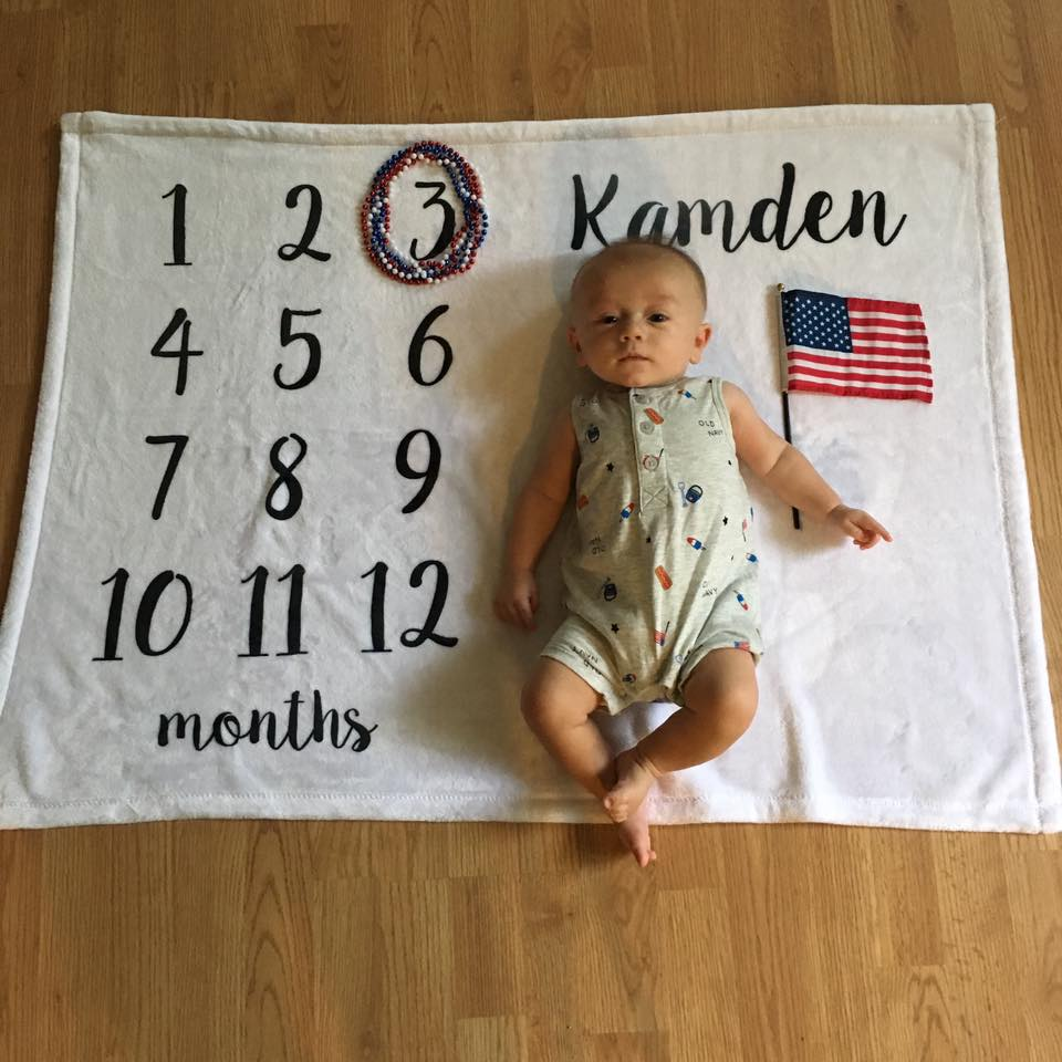 3 months old, month blanket, baby 4th of July outfit