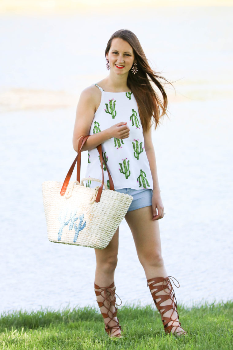 for the love of glitter, cactus tote, cactus tank, gladiator sandals, summer style