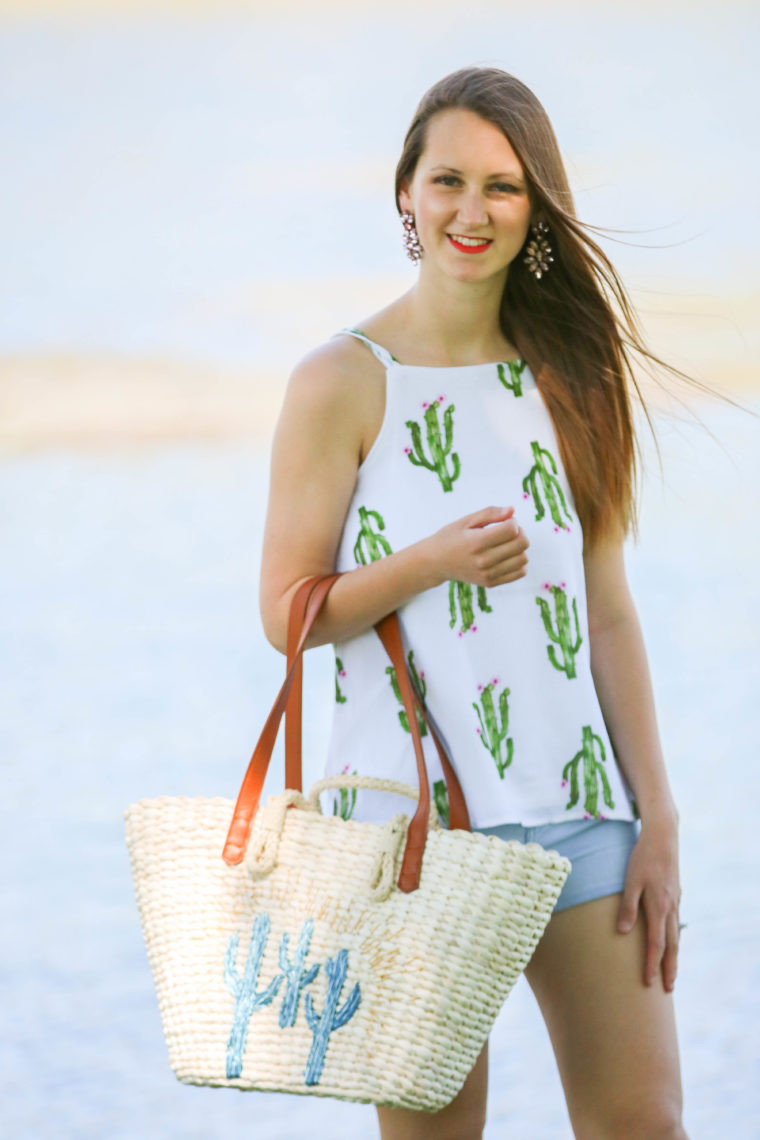 for the love of glitter, cactus tank, cactus tote, Summer style, women's fashion