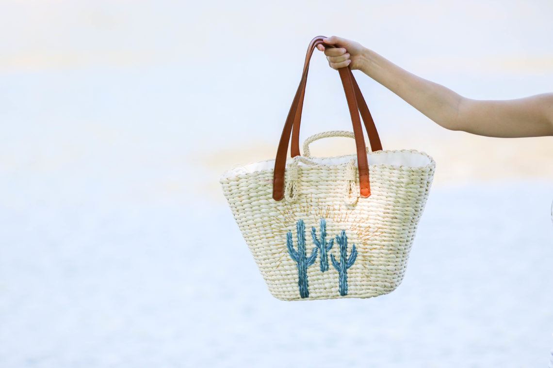 for the love of glitter, cactus tote, beach tote