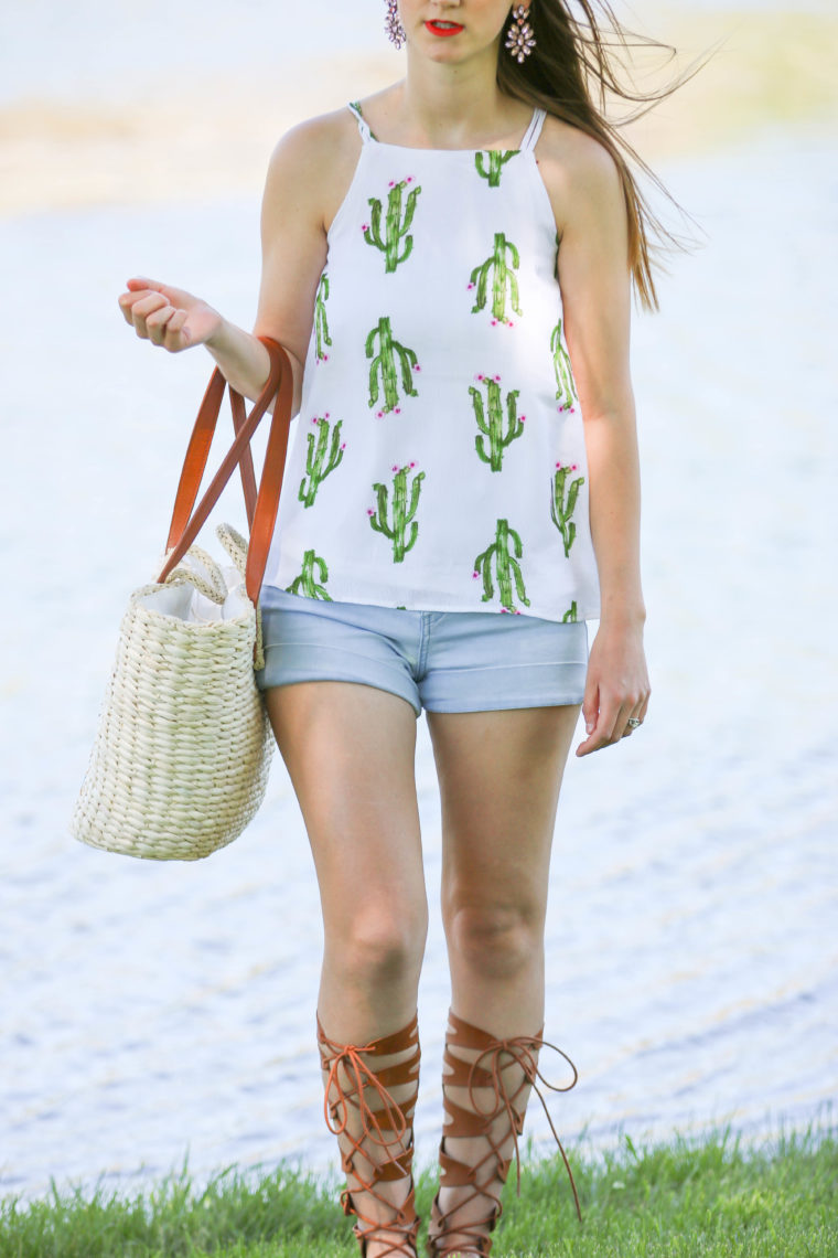 for the love of glitter, cactus top, gladiator sandals, summer style